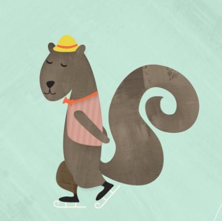 Digital illustratiion of a squirrel ice skating